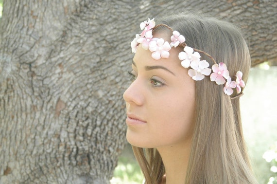 Bridal hair wreath Floral Crown Woodland Wedding Pink flower circlet bridal Halo rustic Nature Party Hair adornment  Boho chic Bride tiara.