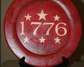Hand painted Americana wood plate - 1776 - original design - OFG