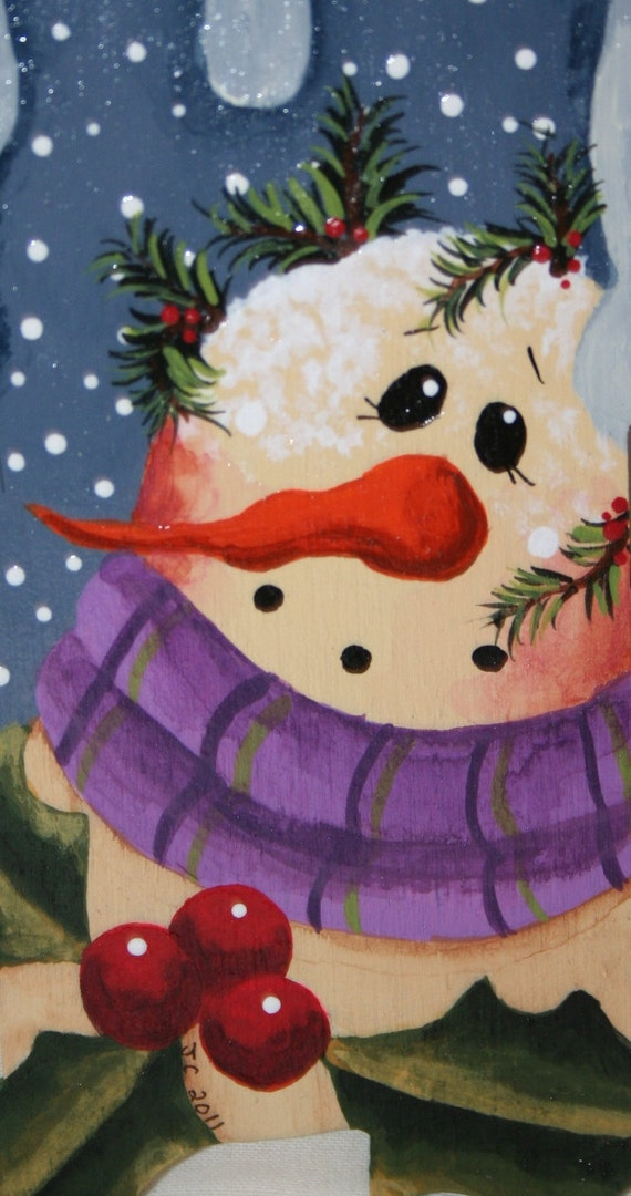 Ornament Snowman Hand Painted On Wood Ofg