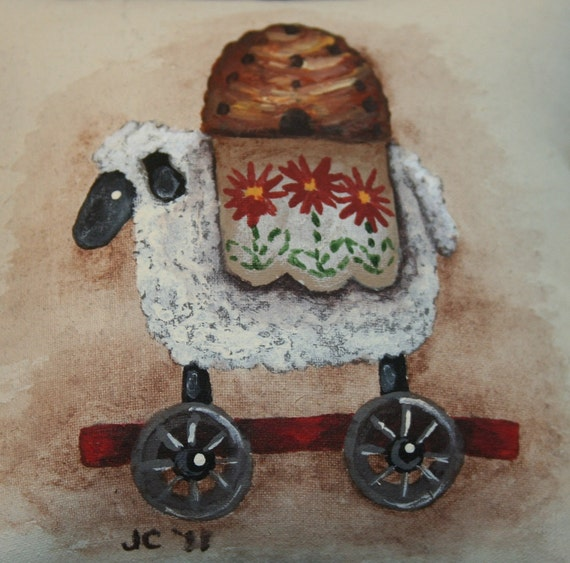 Sheep Little Pillow - Bowl Filler - Tuck - Hand Painted - Primitive - OFG