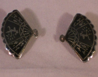 Vintage Sterling silver Siam Earrings Clip on.