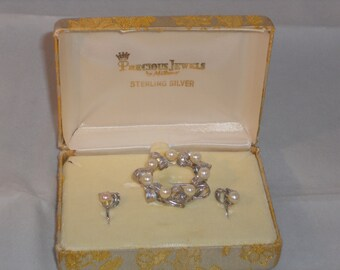Vintage Sterling Silver and Pearl Brooch and Earring set. Dec. precious jewels by MiLano