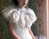 Couture White Feather Capelet Wrap - Custom Size/Color/Style Options Available - by LavederFaye - MadeToOrder - LavederFaye