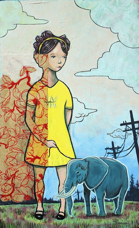 Pet Elephant, elephant, baby, little girl, girl, pop surrealism, lobrow, painting, mixed media, art, art work
