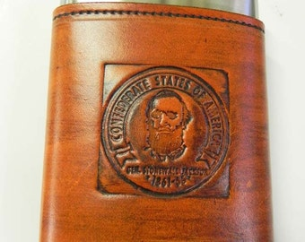 Leather Embossed Gen Stonewall Jackson  Confederate States Of America  Flask