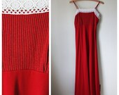 SALE-Red and Lace Maxi Dress-WAS