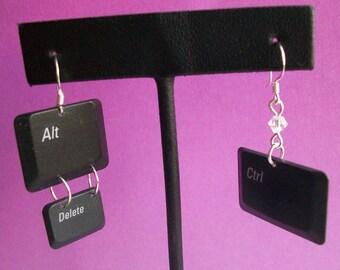 CTRL ALT DEL laptop keyboard key earrings