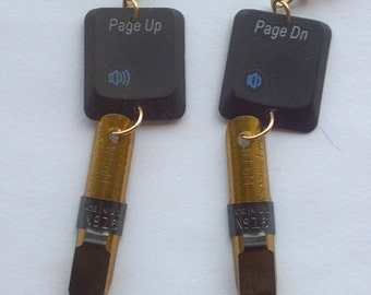 Writing Pen and Computer Key Earrings