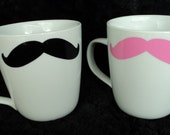 His and Hers Mustache Coffee Mugs