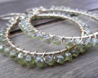 Green Peridot Earrings, Peridot Gemstone Hoops, Wire Wrapped 14k Gold Filled Earrings, August Birthstone, Peridot Hoops, Natural Stone Hoops