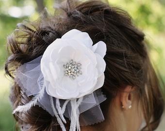 White Bridal Flower Hair clip, Wedding Hair Accessory, Fascinator, Satin, Rhinestone Jewel Center, Bridal Head Piece