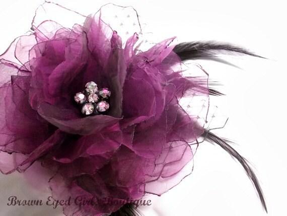 Purple Magenta Bridal Flower Hair clip, Wedding Hair Accessory, Fascinator, Organza, Jewel, Bridal Head Piece
