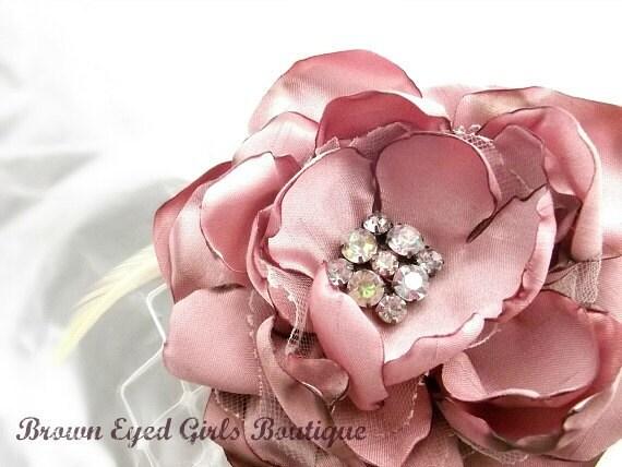 Pink Bridal Flower Hair clip, Wedding Hair Accessory, Fascinator, Shantung Pearl Beads, Bridal Head Piece