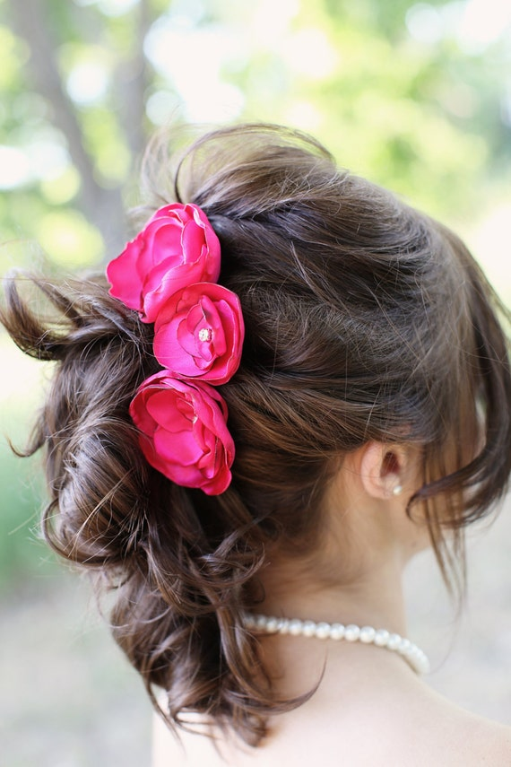 Wedding Hair Flowers Pink : Hot pink bridal flower hair pin trio