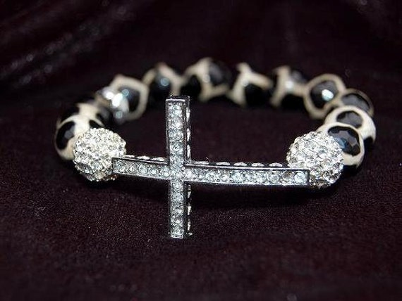 Silver Sideways Cross Bracelet with Agate spotted Safari Black and Cream Gem Stones with Pave Beads
