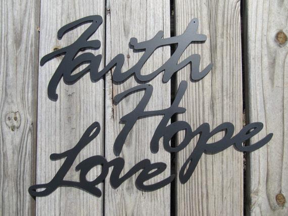 Items similar to faith hope love metal art wall decor on for Faith decor