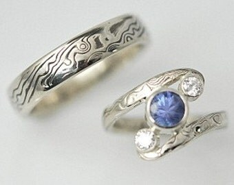 Two Ring Mokume Gane Wedding Rings with Blue Sapphire