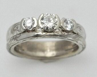 14k White Gold and Sterling Mokume Gane Three Stone Wedding Set