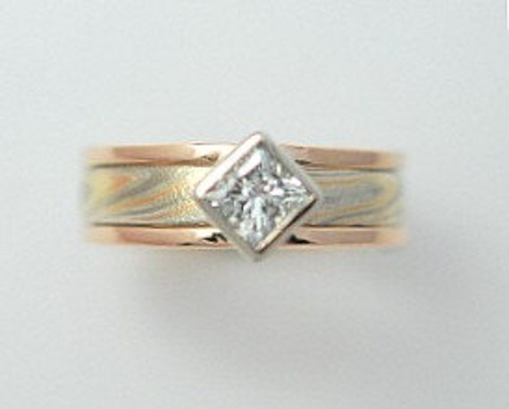 14k Red Gold, 14k White Gold and Sterling Mokume Gane Ring with Guard two rings in one