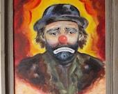 Emmett Kelly OIL CLOWN Painting - Rustic Barn Wood Frame