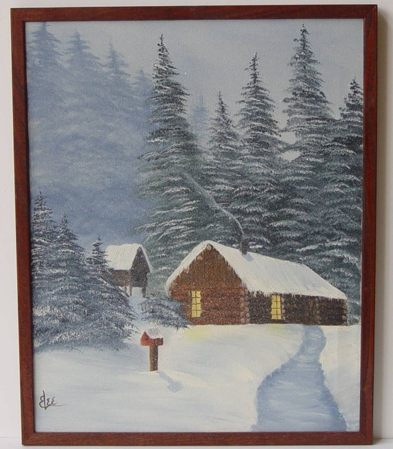 Vintage painting of cabin in the woods snow original for Log cabin painting