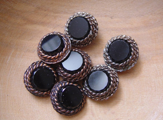 7 Vintage Black GLASS & Copper Buttons with Shanks