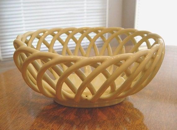 Vintage Yellow Basket Weave Pottery Ceramic Fruit - Bread - Vegetable BOWL