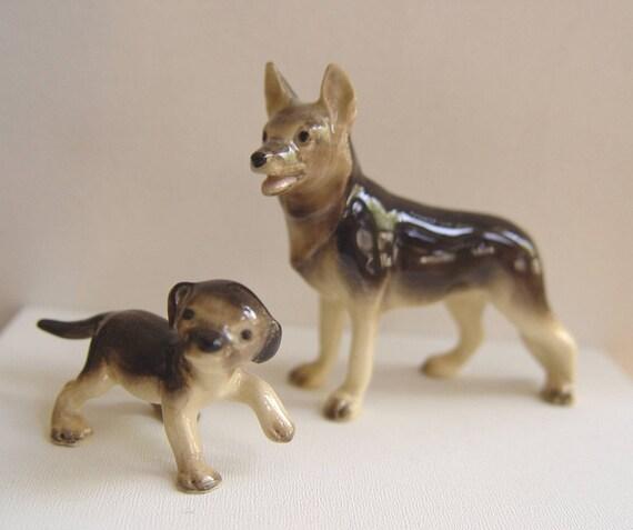 Vintage Set of 2 Miniature German Shepherd  DOGS Bone China