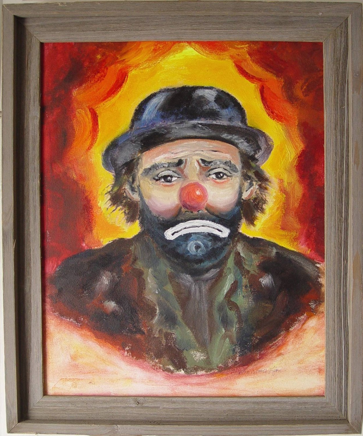 Emmett Kelly OIL CLOWN Painting Rustic Barn Wood Frame