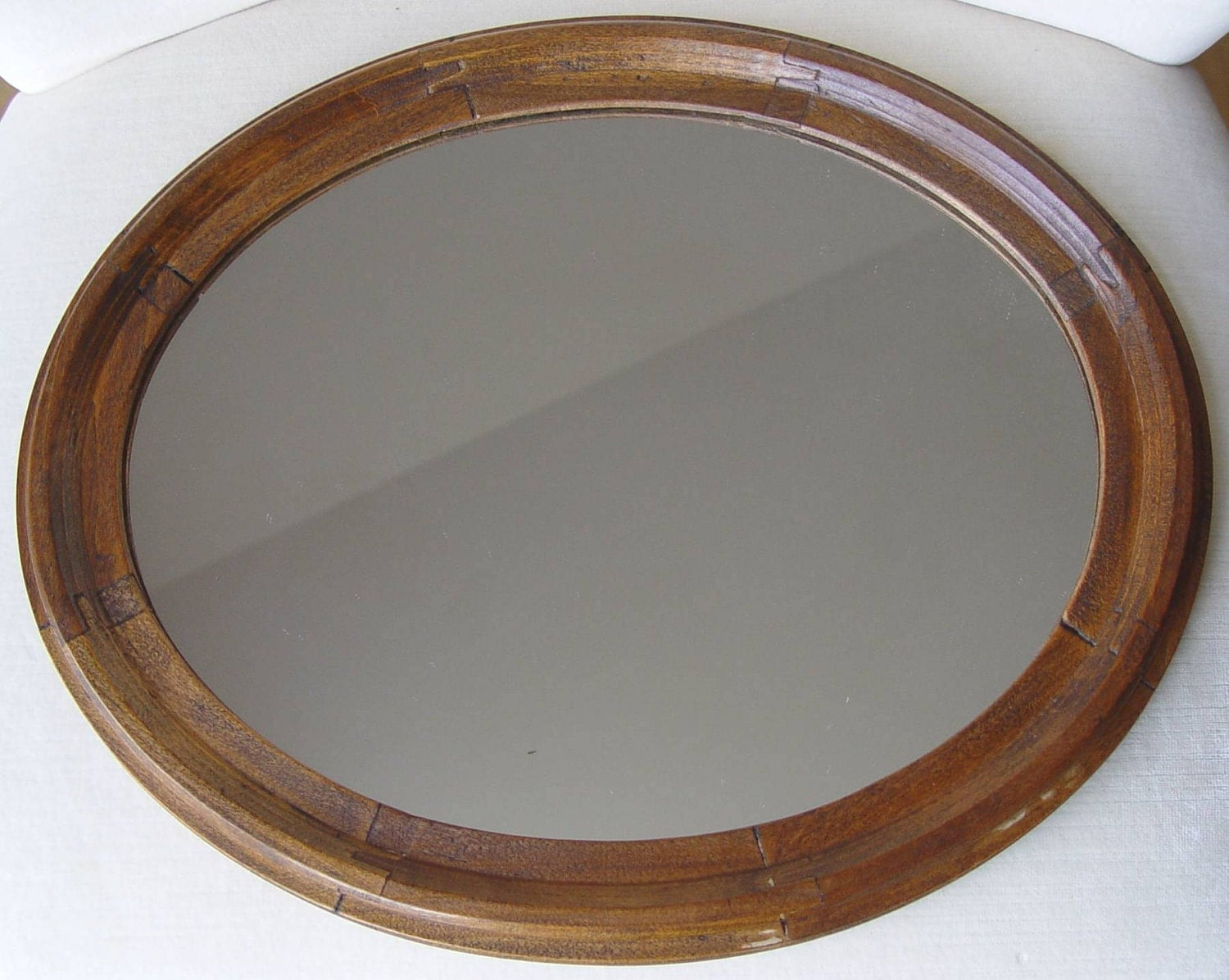 Vintage Antique Oval Tongue And Groove Wood Mirror Frame