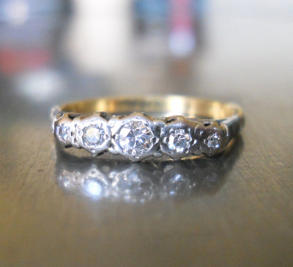 Engagement Ring - Antique Diamond Ring with Platinum and 18k Gold - Edwardian