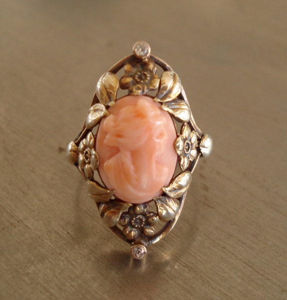 Antique Coral Cameo and Diamond Ring from 1912