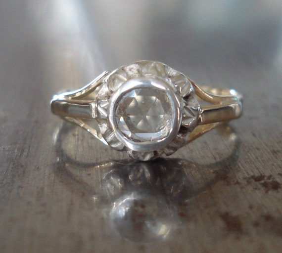 Antique Rose Cut Diamond Engagement Ring from the 1800s