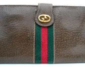 GUCCI Leather Womans Tri-fold VINTAGE Wallet