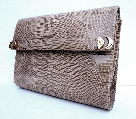Beige Gucci Lizard Skin Clutch  Or Shoulder Vintage Handbag