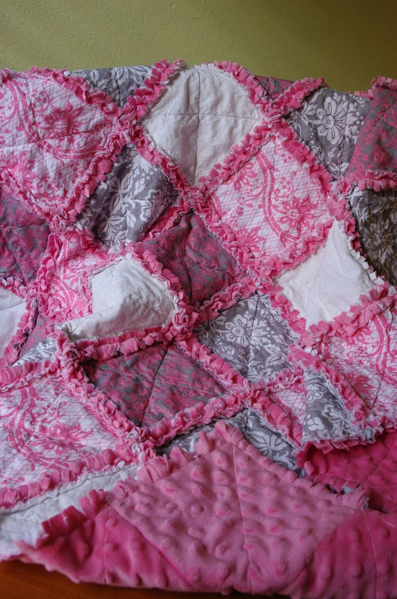 Baby Rag Quilt Pink Grey And Minky Dot
