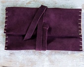 Tobacco Pouch purple leather, Leather Pouch, Rolling Tobacco Pouch, Cigarette Tobacco Pouch, Leather crafted tobacco bag