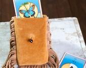 OOAK Leather Tarot Pouch, Tarot Bag, Tarot Card Case, Spiritual Pouch, Therapist Bag, Made to Order
