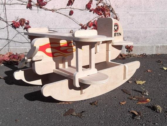 Children's Toy Rocker - Wooden Airplane