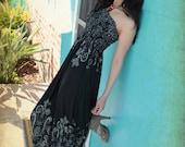 Black and White Paisley Smocked Maxi Dress