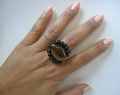 Funky Flower Tiger eye and black onyx wire wrap cocktail ring, custom made, with stone beads, wire wrapped FREE SHIPPING