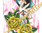 Tattoo Style Hand Holding Faith Wartercolor PRINT