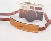 leather camera strap - brown and blackorange