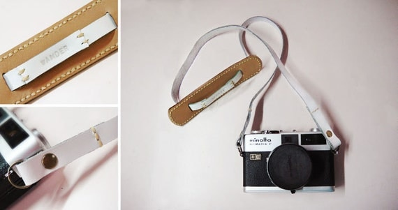 Classic leather camera strap - Saddlebrown and White