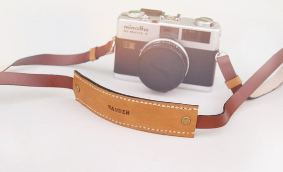 leather camera strap - brown and blackorange