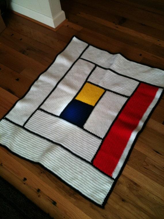 Mondrian inspired color block crochet blanket