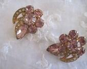 Eisenberg ice pink and clear rhinestone earrings