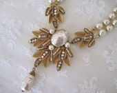 Reserved for Jackie:  Miriam Haskell signed gold leaf & glass Baroque pearl necklace