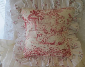 """The """"French Boudoir Collection"""" - 12"""" X 12"""" French """"Toile de Jouy"""" cottage style pillow cover with cotton muslin small rose ruffle"""
