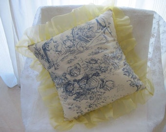 """The """"French Boudoir Collection"""" - 16"""" X 16"""" French """"Toile de Jouy"""" cottage style pillow cover with yellow organza ruffle"""